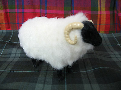 Scottish Blackface Sheep Vintage Figurine Ram Horns Wool Covered Wood Body