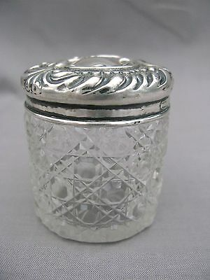 A Hallmarked Sterling Silver topped hobnail glass pot - Birmingham 1900