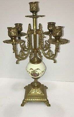 """REDUCED"" Antique Baroque French Porcelain & Brass Candelabra "" Exquisite """