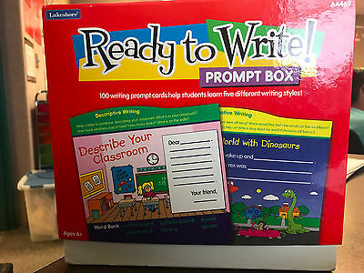 Lakeshore Ready to Write Prompt Box Ages 6+ 100 Prompt Cards Wooden Stand NEW