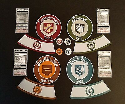 Call of Duty Black Ops - Zombies - ORIGINAL PRE-CUT Perk-a-Cola Bottle Stickers
