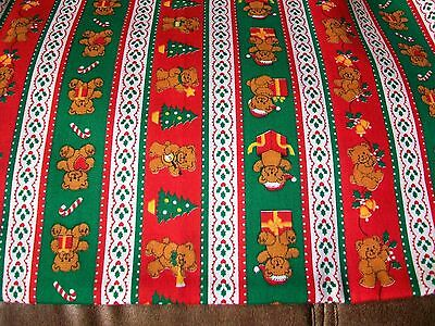 Teddy Bears & Christmas Trees Cotton Quilt Fabric