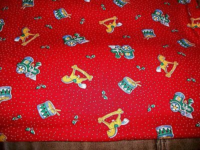 Toy Toss On Red Christmas Cotton Quilt Fabric