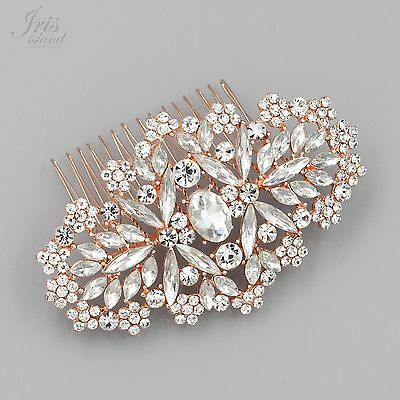 Bridal Hair Comb Crystal Headpiece Hair Clip Wedding Accessory 05335 ROSE GOLD