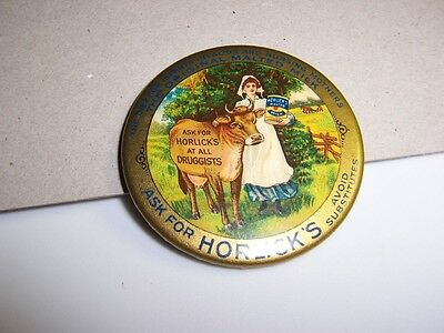 HORLICK'S MALTED MILK ~ Celluloid Antique Advertising Pocket Mirror  About 2 in.