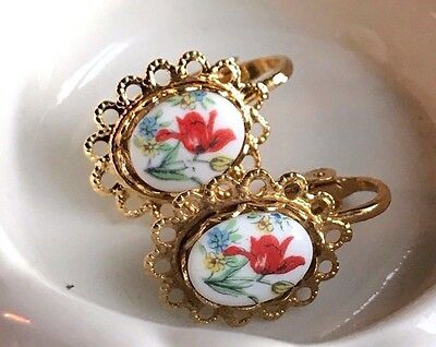 Vintage Limoges Earrings,Floral Earrings,Gold Plated Clip on Rose NOS #1563B