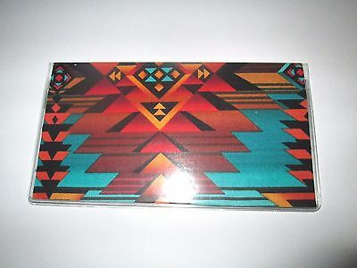 Southwest Checkbook Cover  fabric with vinyl  Native American Design