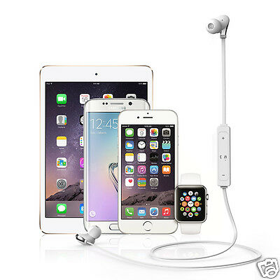 White Wireless Bluetooth Earphone Stereo Headphone Headset For iPhone Huawei LG