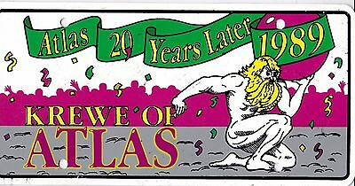 Vintage1989 Krewe Of Atlas License Plate - FREE SHIPPING