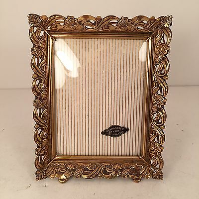 """Vintage 24K Gold Plated Picture Frame 3.25"""" x 4.25"""" Convex Glass"""
