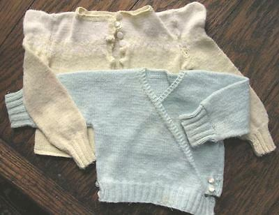 2 Vtg Hand Knit Baby Toddler Sweaters Green Yellow Mother of Pearl Buttons