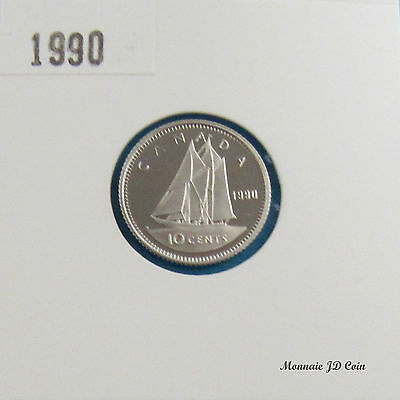1990 Canada 10 Cents Proof Ultra Heavy Cameo Nickel  Coin From Set