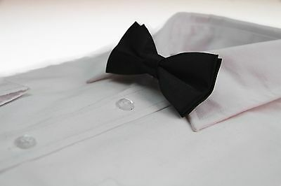 BOYS BLACK BOW TIE Wedding Little Baby Toddler Kids Adjustable Pretied