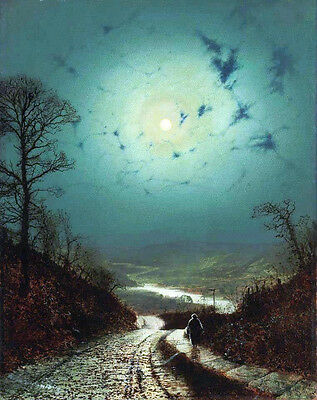 Large oil painting John Atkinson Moon night landscape with woman walking canvas