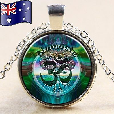 OM Namaste Tree of Life Multicolour Cabochon Glass Silver Pendant Necklace Gift