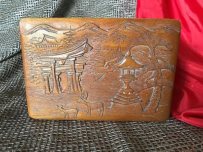 Old Japanese Carved Wooden Box …beautiful hand carved with lots of detail