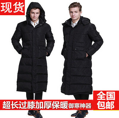 HOT! Mens Duck Down PARKA Hooded Winter Warm Cold proof Long knee Puffer Coat Sz