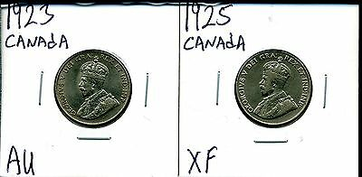 Canada 5c 1923 and 1925 Five Cent Pieces in Circulated Condition