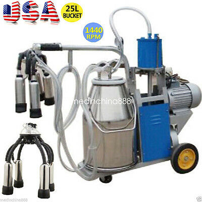 Portable Electric Milking Machine Milker Cows Stainless Steel 25L W/ Bucket
