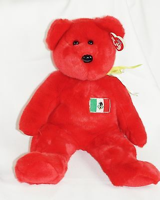 Ty Beanie Buddy RED OSITO Bear Mexico w/ Tag Plush Toy RARE NEW RETIRED