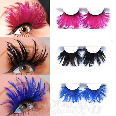 Long Feather False Eyelashes One Pair Black Blue Pink Fuchsia Costume Party Big
