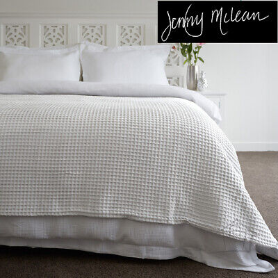 New JENNY McLEAN Premium KING / SUPER KING Waffle Blanket WHITE 100% Pure Cotton