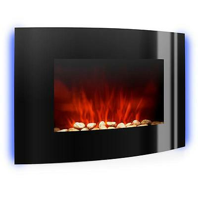2000W Ultra Slim Wall Mounted Electric Fireplace Heater Fan Curved Glass Design