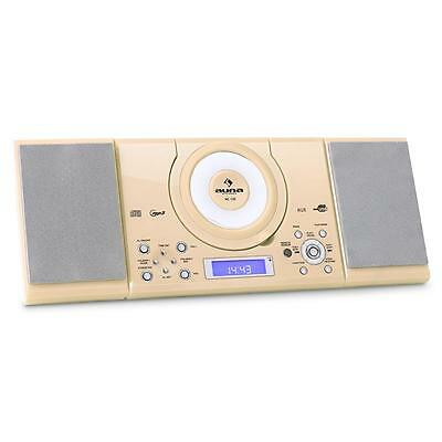 Mountable Alarm Clock Usb Cd Player Radio Fm Tuner Sleep Timer Compact - Cream