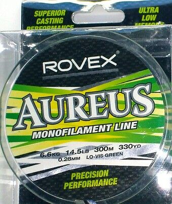 Rovex Aureus Monofilament Fishing Line 300m 330yd Low Vis Green BRAND NEW