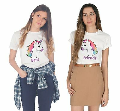 Unicorn Best Friends Matching T-shirts Top Set Babes BFF's Squad Funny Gift