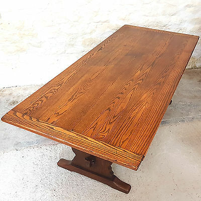 Large English Oak Plank Top Refectory Table 7ft (Kitchen Dining Country)