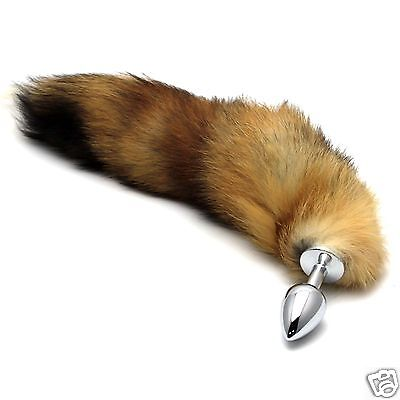 Funny Brown Long Faux Fox Tail With Silver Stainless Steel Plug Cosplay Game Toy
