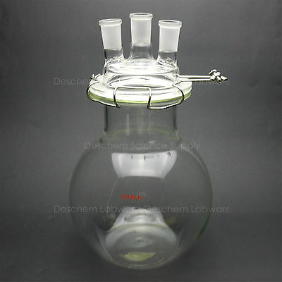 5000ml,24/40,Glass Reaction Vessel,5L,3-Neck,Flat Bottom Reactor,W/Clamp and Lid