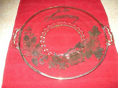 """VTG 25th Anniversary clear/ Silver Overlay Glass Cake Plate 10 1/2"""" flowers EUC!"""
