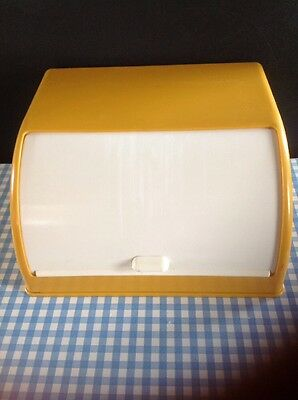 Vintage Bread Bin Plastic Yellow White Good Condition Retro