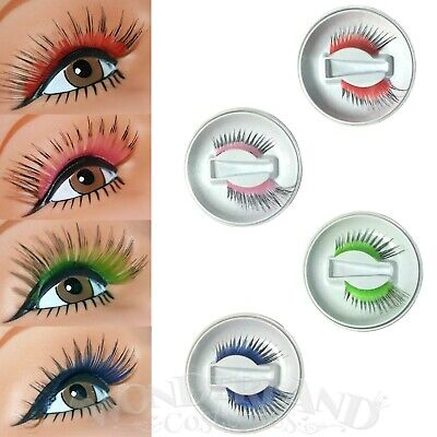 Long Sweep False Eyelashes One Pair Colour Centre Black Tips Blue Red Green Pink
