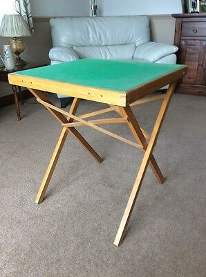 Folding Green Baize Topped Card Table/ Games Table