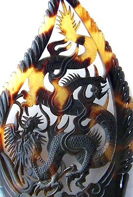 Antique Hair Comb Asian Hand Carved Mottled Dragon Mahogany & Blonde