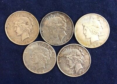 5 Peace Dollars Circulated Culls Various Dates And Mint marks DC15