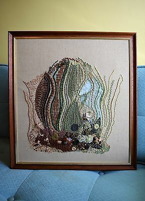 Vintage 70s Modernist Abstract Art Tapestry Textured Hand Embroidery Picture