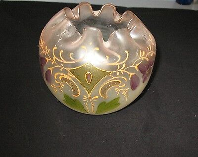 Gorgeous Victorian Lavender Frosted Floral Hand Painted Large Blown Rose Bowl