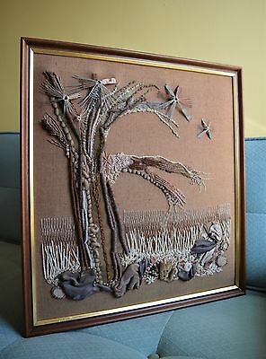 Vintage 70s Modernist Abstract Tapestry Tree Picture Hand Embroidery Picture