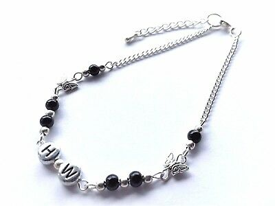 Black Glass Pearl Beads & Butterfly Hw = Hot Wife Silver Anklet / Ankle Bracelet