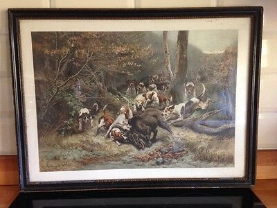Antique Hounds Hunting boar Framed Picture