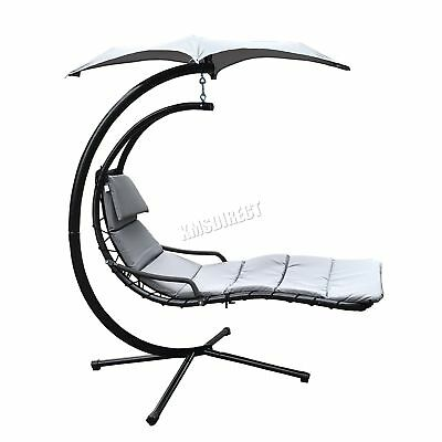 FoxHunter Garden Swing Hammock Helicopter Hanging Chair Seat Sun Lounger Grey
