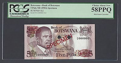 Botswana 5 Pula ND 1982 P8s2  Specimen TDLR  About Uncirculated