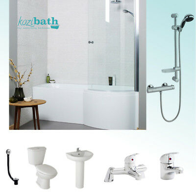 Complete P Shower Bath Suite 1700mm x 850mm. Toilet, Basin, Taps & Shower System