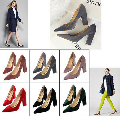 high heel shoes woman pointed toe thick heel ladies shoes heels office shoe