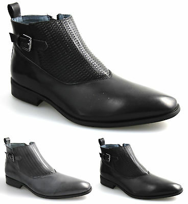 Mens Black Grey Ankle Chelsea Boots Smart Casual All Sizes UK 5 6 7 8 9 10 11