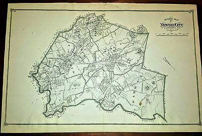 1875 Original Map of Newton, Massachusetts F.W. Beers Atlas of Middlesex County